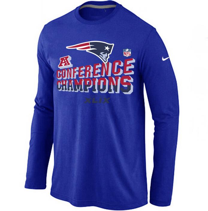 Nike Patriots 2015 Super Bowl XLIX Long Sleeve Blue T-Shirts
