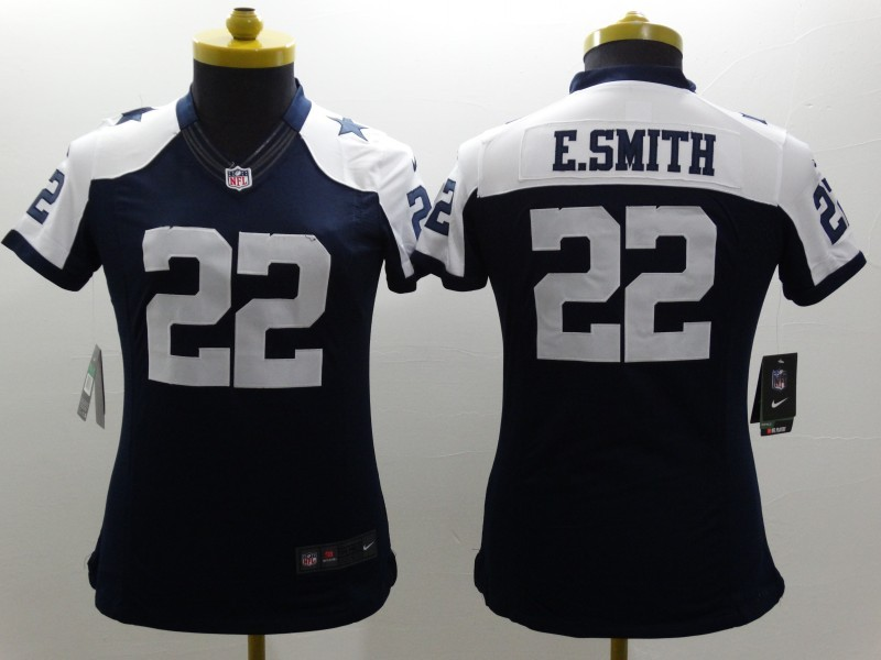 Nike Cowboys 22 E.Smith Blue Thanksgiving Women Game Jerseys
