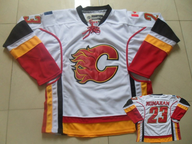 Flames 23 Monahan White Jersey