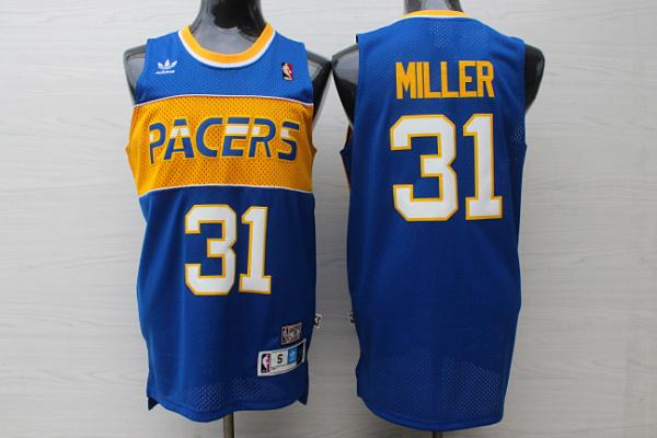 Pacers 31 Reggie Miller Blue Hardwood Classics Jersey