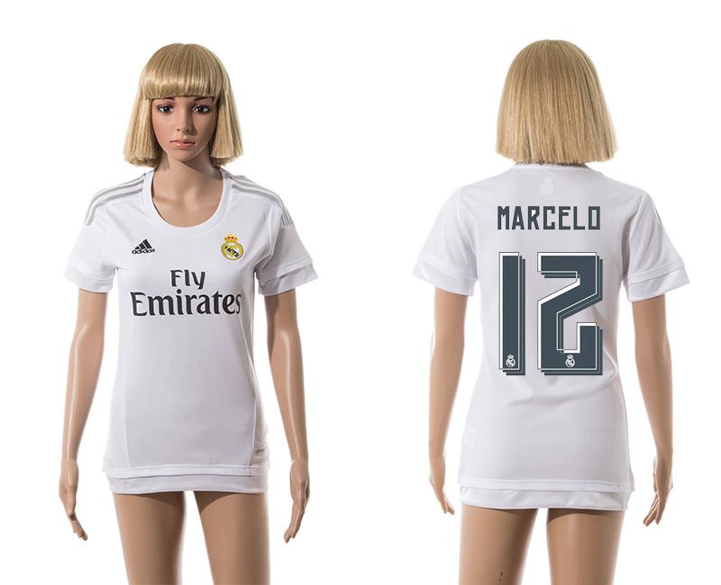 2015-16 Real Madrid 12 MARCELO Home Women Jersey