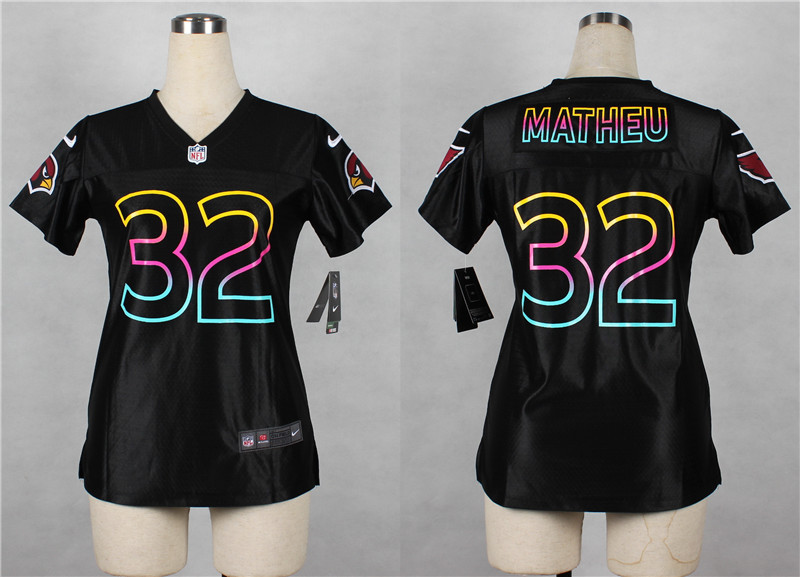Nike Cardinals 32 Tyrann Mathieu Black Fashion Women Jersey