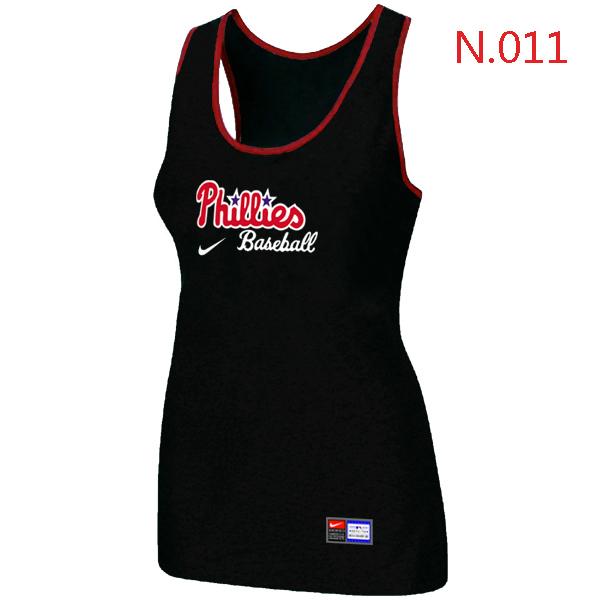 Nike Philadelphia Phillies Tri Blend Racerback Stretch Tank Top Black