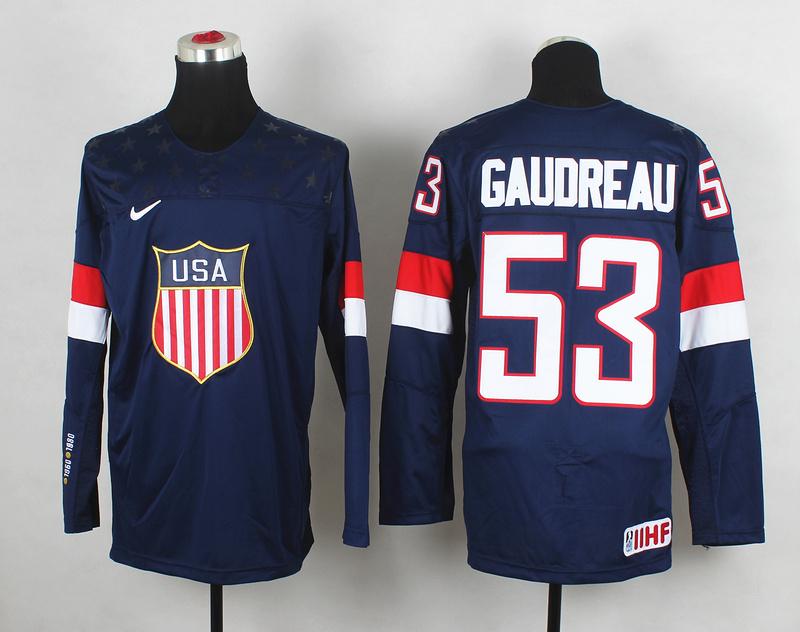 USA 53 Gaudreau Blue 2014 Olympics Jerseys