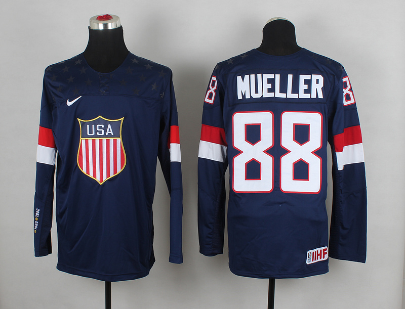 USA 88 Mueller Blue 2014 Olympics Jerseys