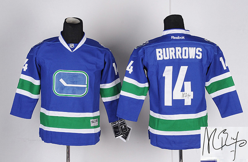 Canucks 14 Burrows Blue Third Signature Edition Youth Jerseys