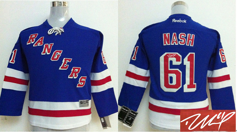 Rangers 61 Nash Blue Signature Edition Youth Jerseys