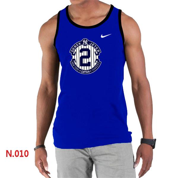 Nike Derek Jeter New York Yankees Final Season Commemorative Logo men Tank Top Blue