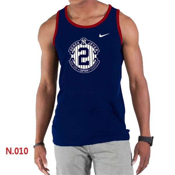 Nike Derek Jeter New York Yankees Final Season Commemorative Logo men Tank Top D.Blue