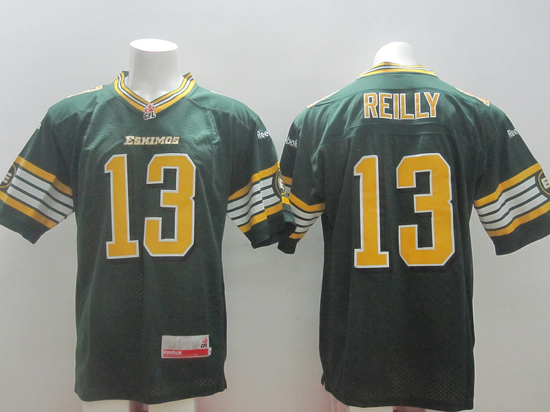Reebok CFL Eskimos 13 Reilly Green Jerseys