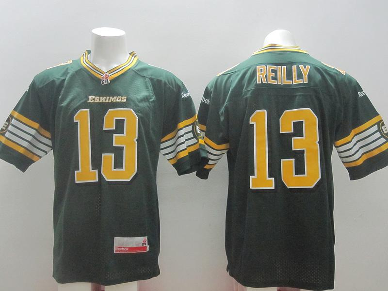 Reebok CFL Eskimos 13 Reilly Green Jerseys