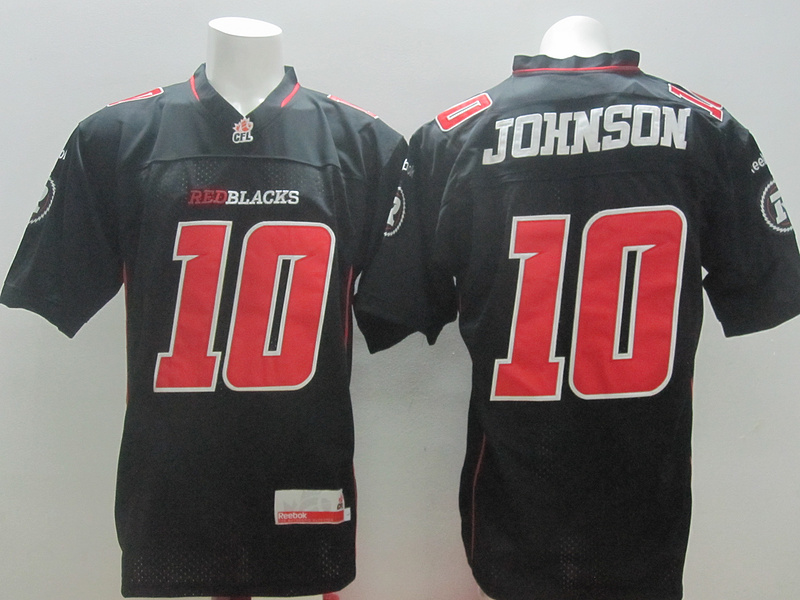 Reebok CFL Redblacks 10 Johnson Black Jerseys
