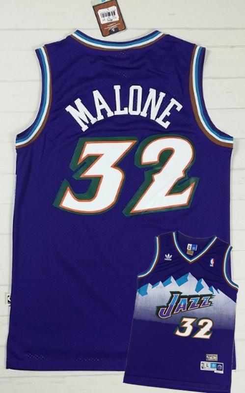 Jazz 32 Malone Purple Hardwood Classics Jerseys