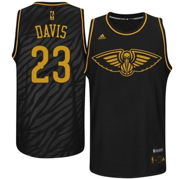 Pelicans 23 Davis Black Precious Metals Fashion Jerseys