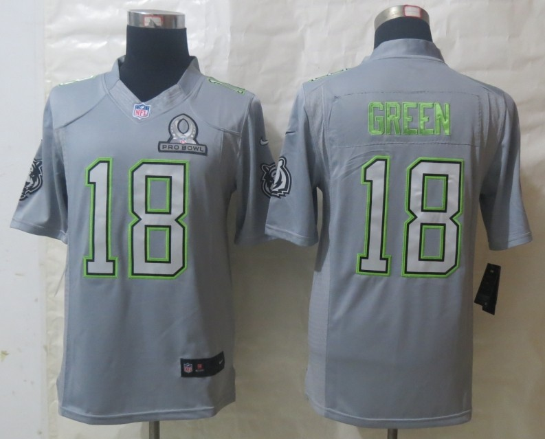 Nike Bengals 18 Green Grey 2014 Pro Bowl Jerseys