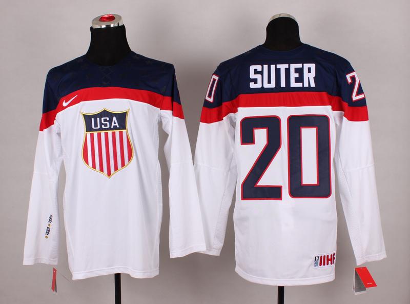 USA 20 Suter White 2014 Olympics Jerseys
