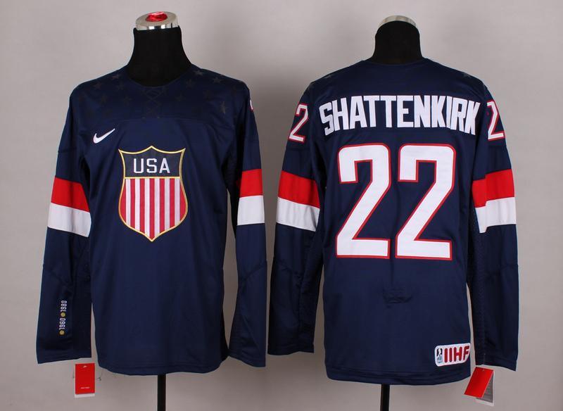 USA 22 Shattenkirk Blue 2014 Olympics Jerseys