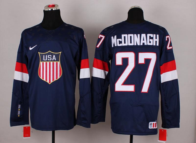 USA 27 McDonagh Blue 2014 Olympics Jerseys