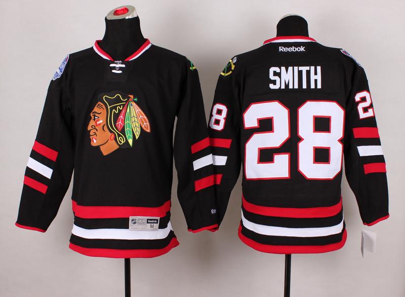 Blackhawks 28 Smith Black 2014 Stadium Series Jerseys