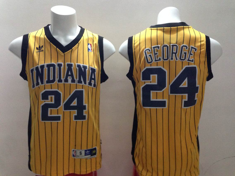 Pacers 24 Paul George Yellow Strip Revolution 30 Swingman Jerseys