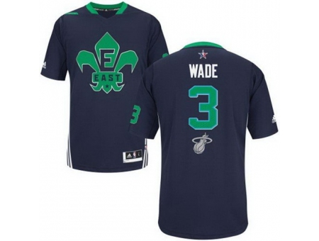 2014 All Star Miami Heat 3 Dwyane Wade Blue Revolution 30 Swingman Jerseys