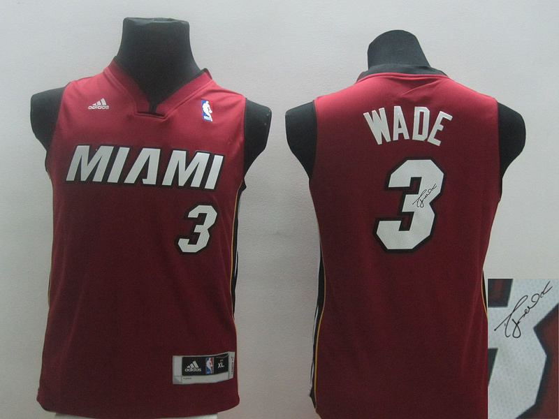 Heat 3 Wade Red Revolution 30 Youth Signature Edition Jerseys