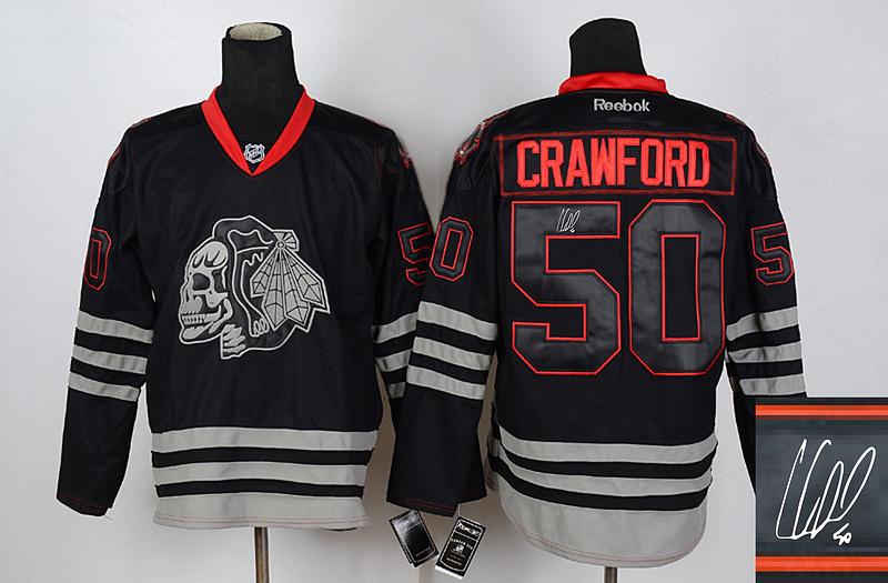 Blackhawks 50 Crawford Black Skulls Signature Edition Jerseys