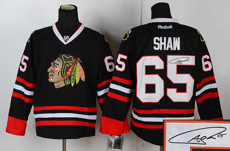 Blackhawks 65 Shaw Black Signature Edition Jerseys