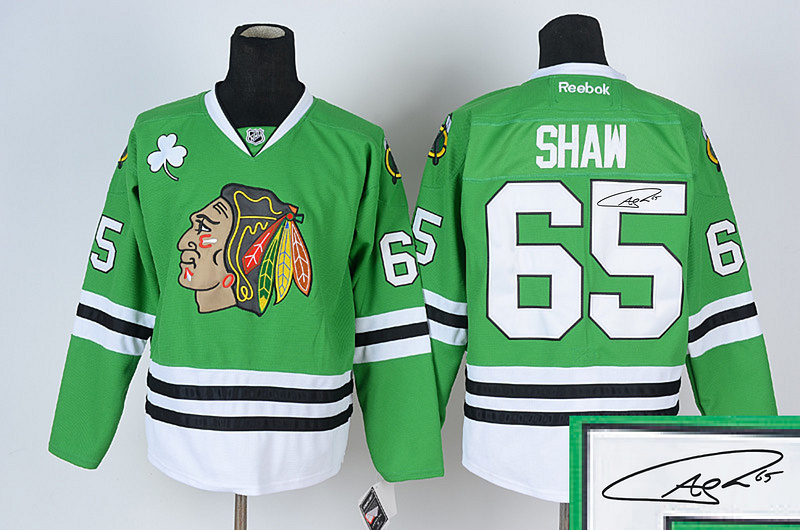 Blackhawks 65 Shaw Green Signature Edition Jerseys