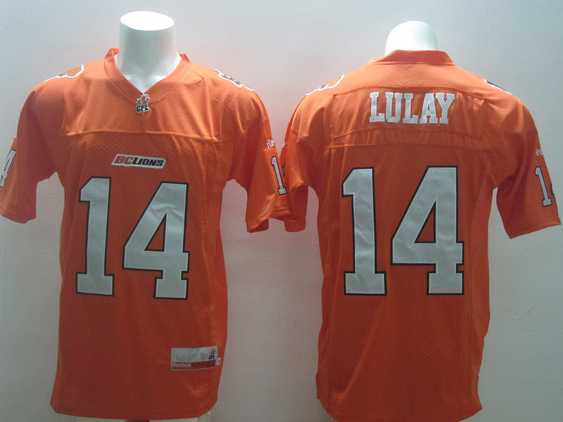 Reebok CFL BC Lions 14 Lulay Orange Jerseys