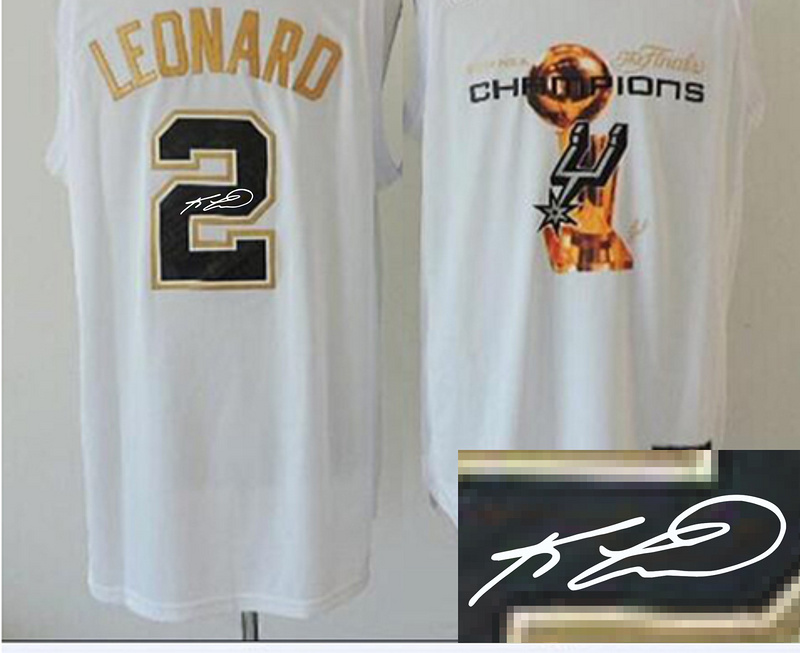 Spurs 2 Leonard White 2014 Champions Signature Edition Jerseys