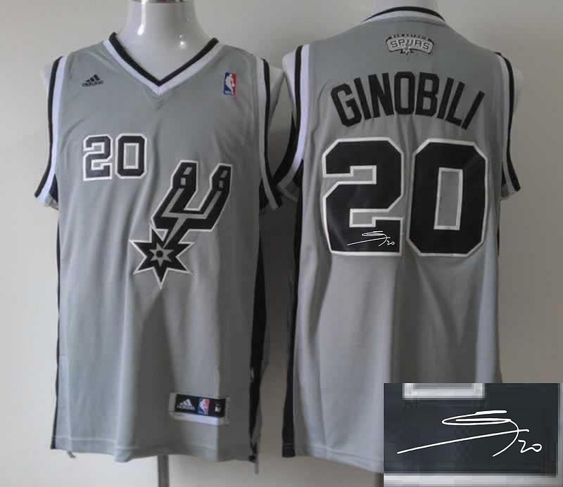 Spurs 20 Ginobili Grey Revolution 30 Signature Edition Jerseys
