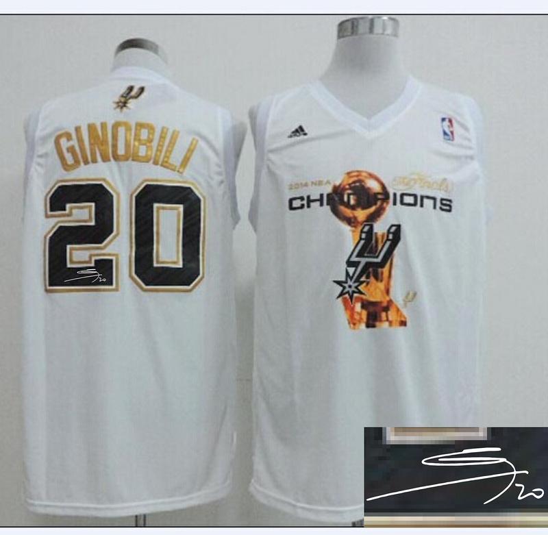 Spurs 20 Ginobili White 2014 Champions Signature Edition Jerseys