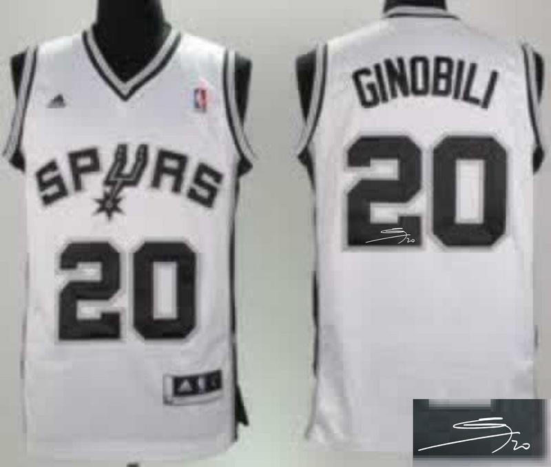 Spurs 20 Ginobili White Signature Edition Jerseys
