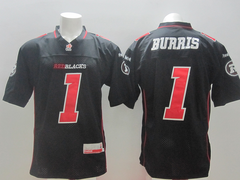 Reebok CFL Redblacks 1 Burris Black Jerseys