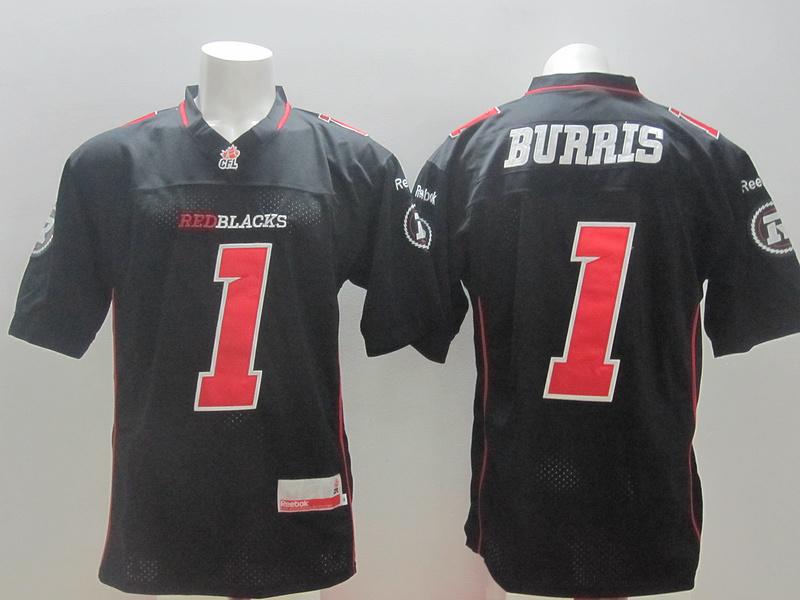 Reebok CFL Redblacks 1 Burris Black Jerseys