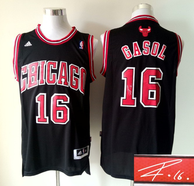 Bulls 16 Gasol Black Signature Edition Jerseys