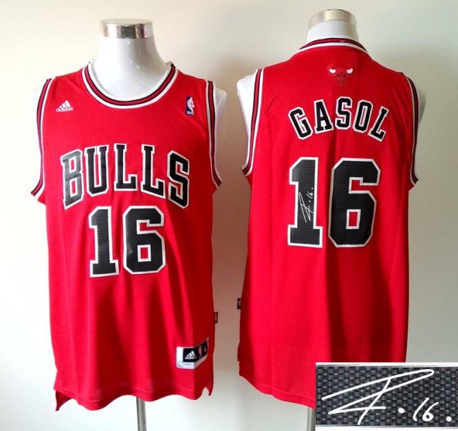Bulls 16 Gasol Red Signature Edition Jerseys