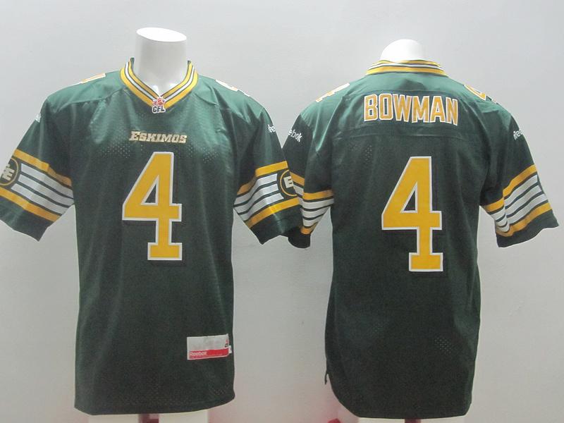 Reebok CFL Eskimos 4 Bowman Green Jerseys
