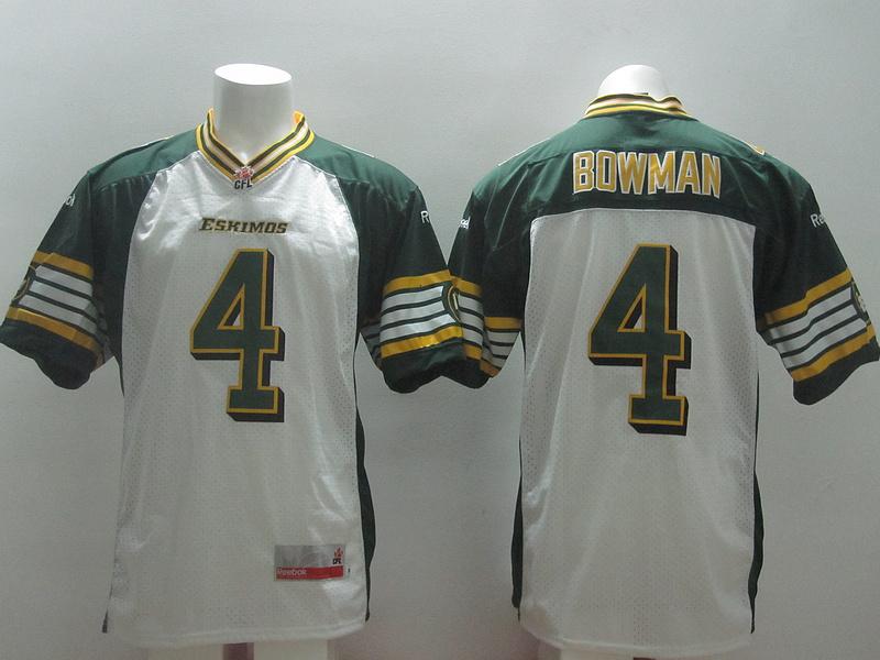 Reebok CFL Eskimos 4 Bowman White Jerseys