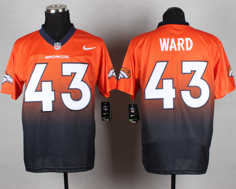 Nike Broncos 43 Ward Orange And Blue Drift Fashion II Elite Jerseys