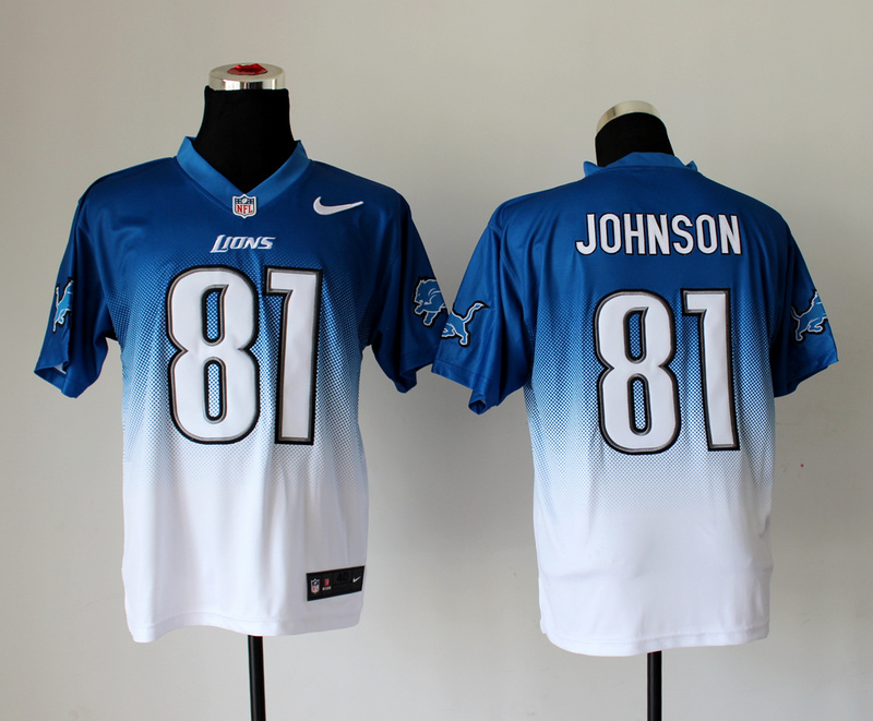 Nike Lions 81 Johnson Blue And White Drift Fashion II Elite Jerseys