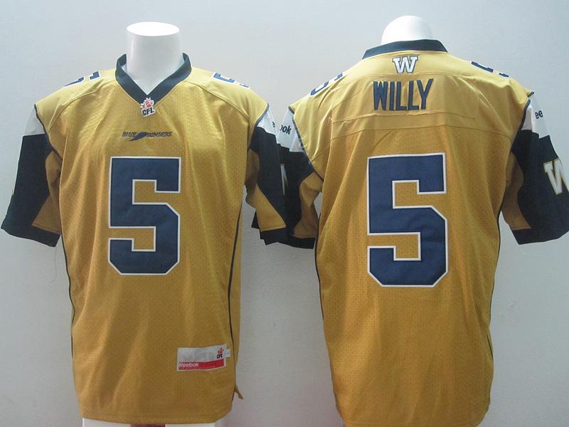 Reebok CFL Blue Bombers 5 Willy Yellow Jerseys