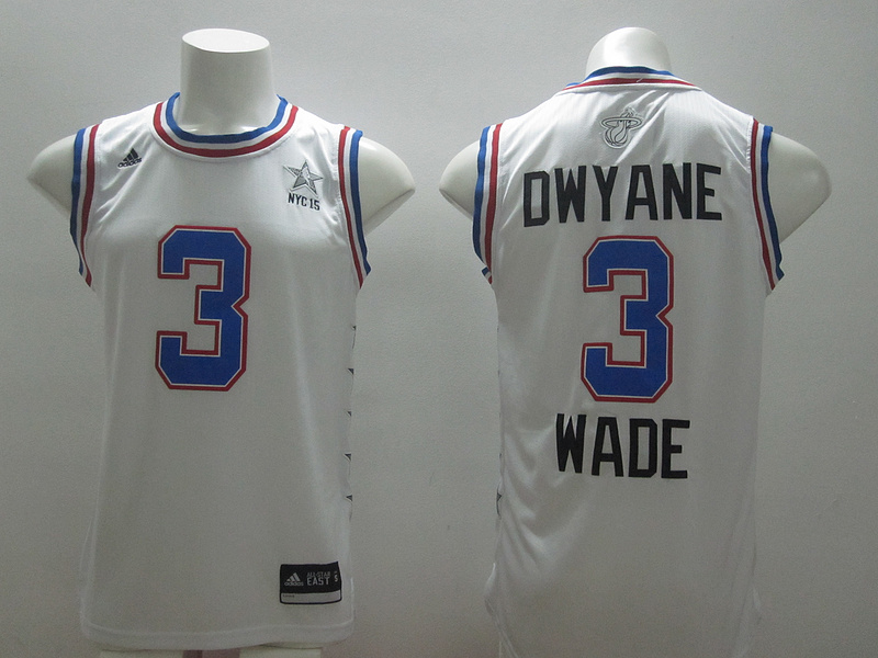 2015 NBA All Star NYC Eastern Conference 3 Dwyane Wade White Jerseys