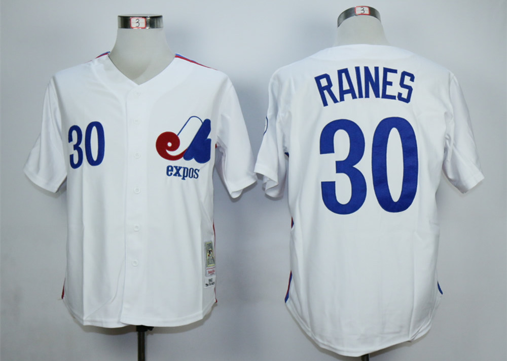 Expos 30 Tim Raines White Throwback Jersey