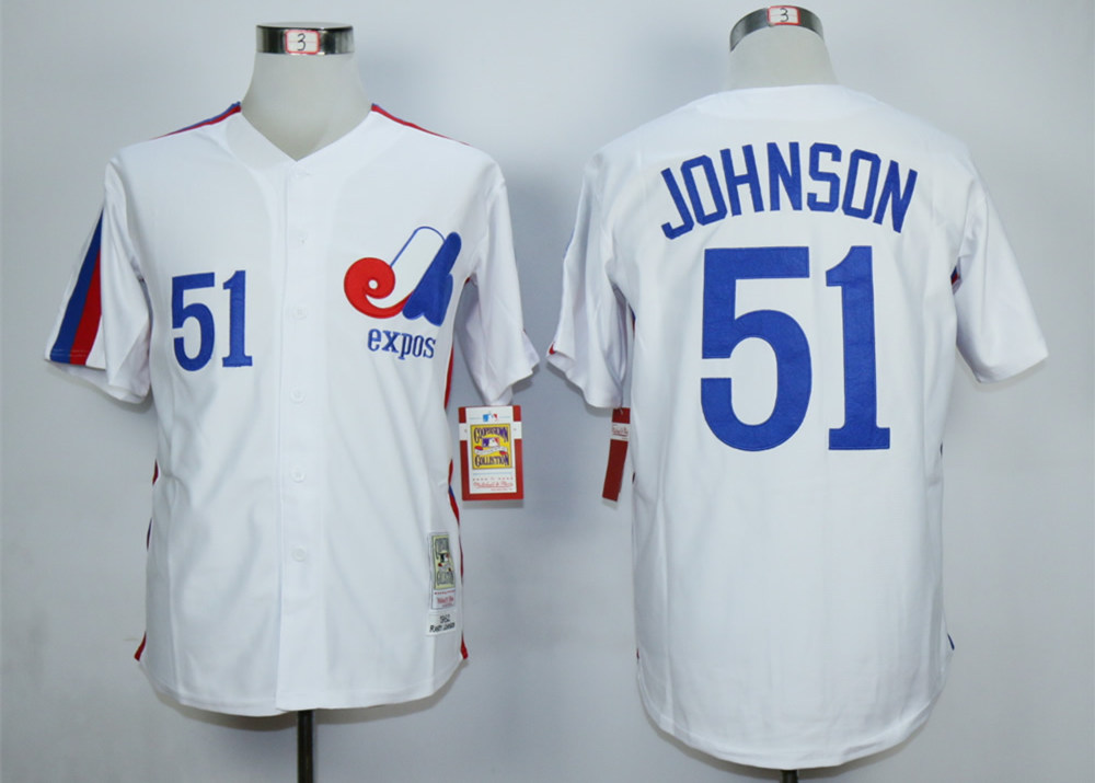 Expos 51 Randy Johnson White Throwback Jersey