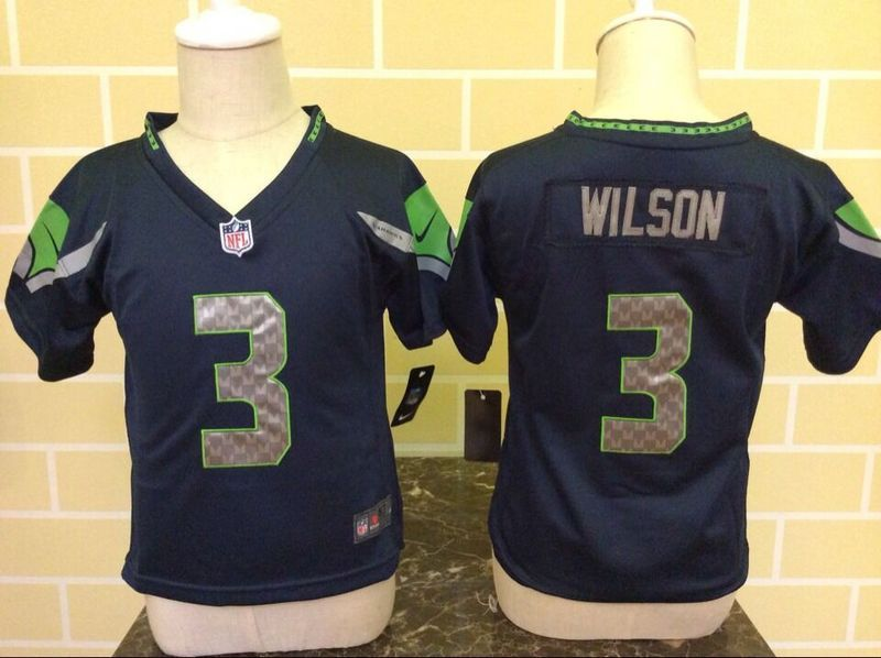 Nike Seahawks 3 Russell Wilson Blue Toddler Game Jersey