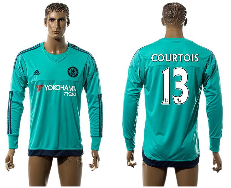 2015-16 Chelsea 13 COURTOIS Goalkeeper Long Sleeve Thailand Jersey