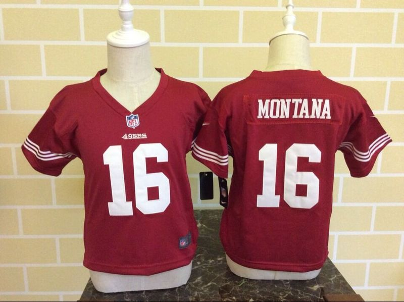 Nike 49ers 16 Joe Montana Red Toddler Game Jersey