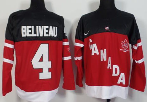 Canada 4 Jean Beliveau Red 100th Celebration Jersey
